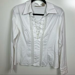 Apostrophe popover lace up blouse  white size 12